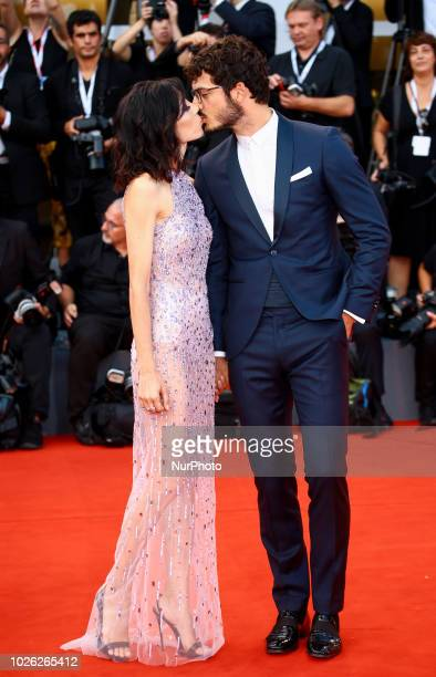 Francesca Rocco and Giovanni Masiero walks the red carpet ahead of the 'The Sisters Brothers' screening during the 75th Venice Film Festival on...