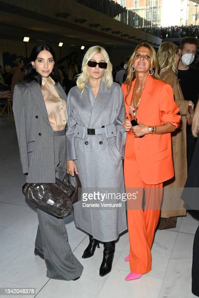 Francesca Rocco, Eleonora Carisi and Anna Dello Russo are seen on the front row of the Max Mara fashion show during the Milan Fashion Week - Spring /...