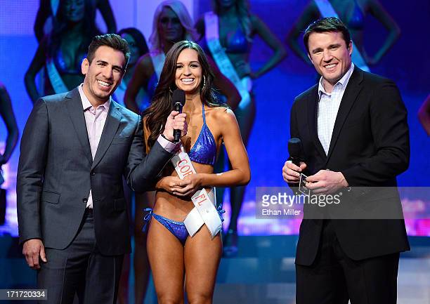 Francesca Ruffino of Cape Coral Florida answers a question during the interview portion of the 17th annual Hooters International Swimsuit Pageant as...