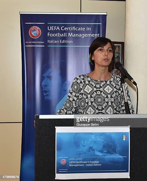 Francesca Sanzone attends during UEFA Certificate In Football Management Seminar-Italian Edition at Coverciano on July 8, 2015 in Florence, Italy.