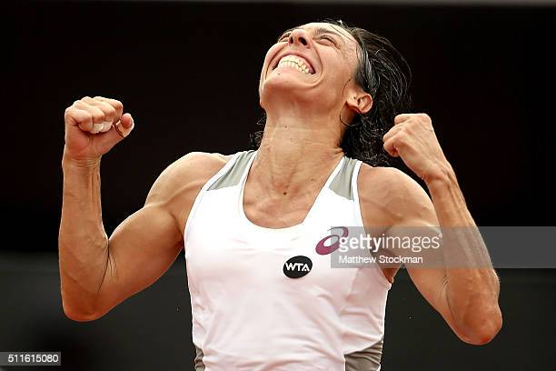 Francesca Schiavone of Italy celebrates defeating Shelby Rogers of the United States in the final during the Rio Open at Jockey Club Brasileiro on...