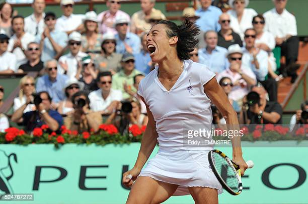 Francesca Schiavone of Italy celebrates winning championship point during the women's singles final match between Francesca Schiavone of Italy and...