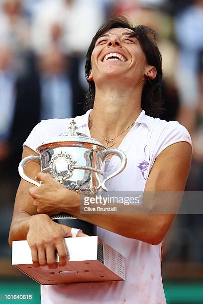 Francesca Schiavone of Italy celebrates with the trophy after winning the women's singles final match between Francesca Schiavone of Italy and...