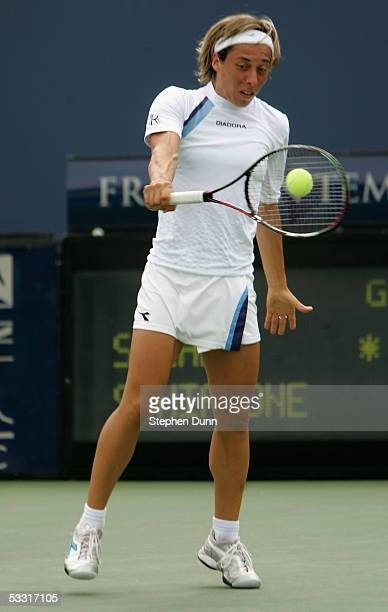 Francesca Schiavone of Italy hits a backhand to Abigail Spears of the USA during the Acura Classic on August 2 2005 at La Costa Spa and Resort in...