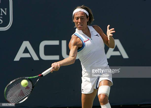 Francesca Schiavone of Italy hits a forehand while playing against Patty Schnyder of Switzerland during the Acura Classic on August 4 2005 at the La...