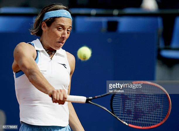 Francesca Schiavone of Italy in action against Meghann Shaughnessy of USA during the Sony Ericsson WTA Tour Telecom Italia Tennis Masters at the Foro...