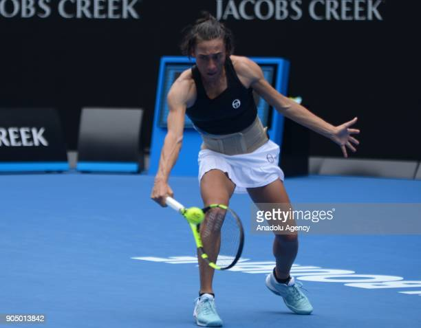 Francesca Schiavone of Italy in action in her first round match against Jelena Ostapenko of Latvia on day one of the 2018 Australian Open at...