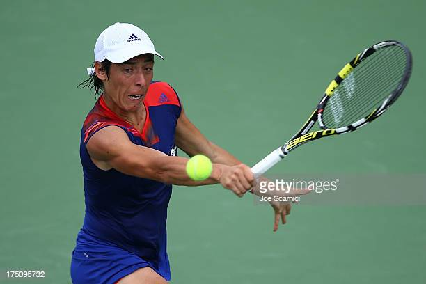 Francesca Schiavone of Italy plays a forehand during her second round match against Victoria Azarenka of Bulgaria at the Southern California Open Day...