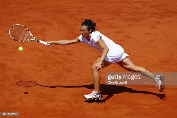Francesca Schiavone of Italy plays a forehand during the women's singles semi final match between Elena Dementieva of Russia and Francesca Schiavone...