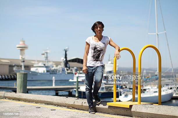 Francesca Schiavone of Italy poses on a visit to Constitution Dock during day two of the Hobart International at Domain Tennis Centre on January 5...