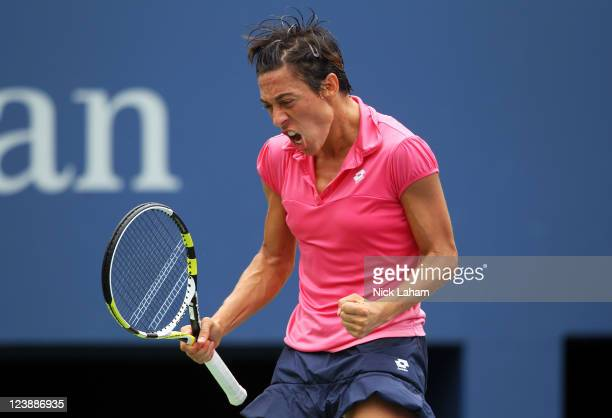 Francesca Schiavone of Italy reacts after a point against Anastasia Pavlyuchenkova of Russia during Day Eight of the 2011 US Open at the USTA Billie...