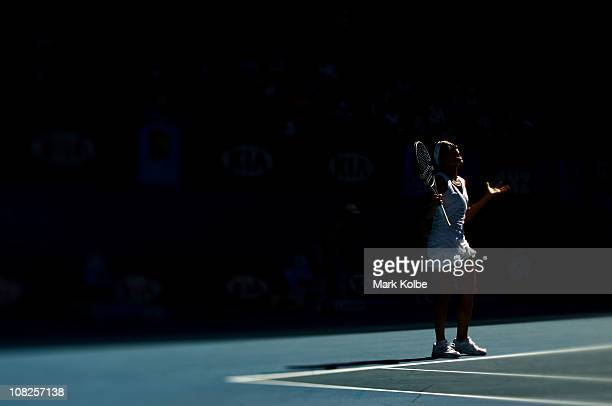 Francesca Schiavone of Italy reacts to a point in her fourth round match against Svetlana Kuznetsova of Russia during day seven of the 2011...