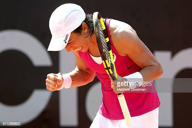 Francesca Schiavone of Italy reacts to a point while playing Cindy Burger of Netherlands during the Rio Open at Jockey Club Brasileiro on February 19...