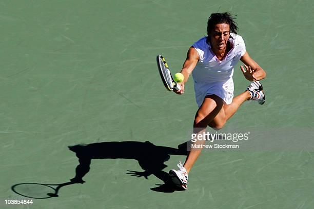 Francesca Schiavone of Italy returns a shot against Anastasia Pavlyuchenkova of Russia during her women's singles match on day seven of the 2010 US...