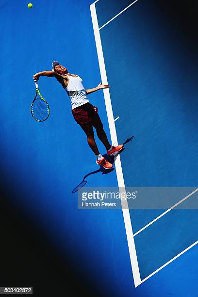 Francesca Schiavone of Italy serves during her first round match against Tamira Paszek of Austria during day two of the 2016 ASB Classic at the ASB...
