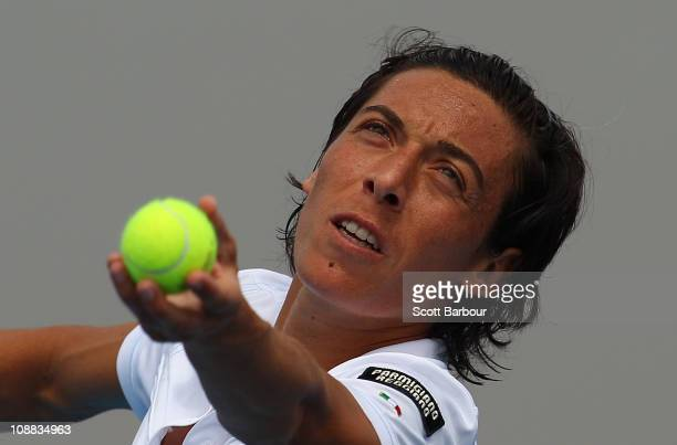 Francesca Schiavone of Italy serves during her match against Jarmila Groth of Australia during day one of the Federation Cup tie between Australia...