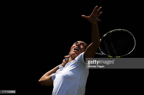 Francesca Schiavone of Italy serves during her second round match against Barbora Zahlavova Strycova of the Czech Republic on Day Four of the...