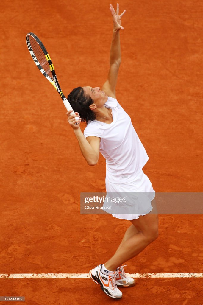 Francesca Schiavone of Italy serves during the women's singles quarter final match between Caroline Wozniacki of Denmark and Francesca Schiavone of Italy on day ten of the French Open at Roland Garros on June 1, 2010 in Paris, France.