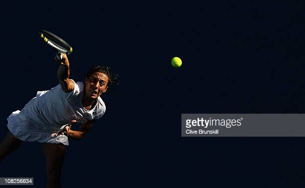 Francesca Schiavone of Italy serves in her fourth round match against Svetlana Kuznetsova of Russia during day seven of the 2011 Australian Open at...