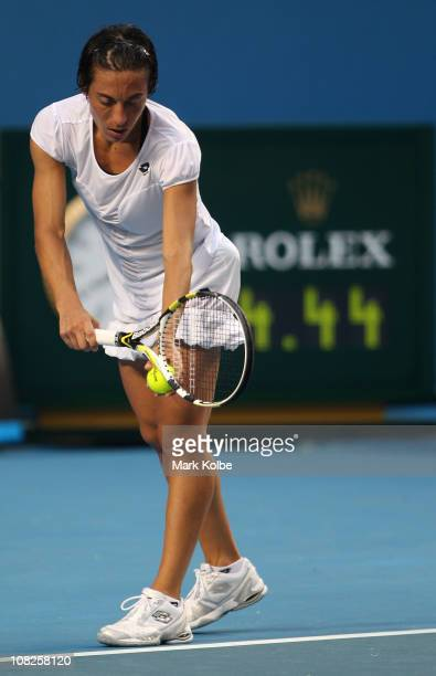 Francesca Schiavone of Italy serves on match point in her fourth round match against Svetlana Kuznetsova of Russia during day seven of the 2011...