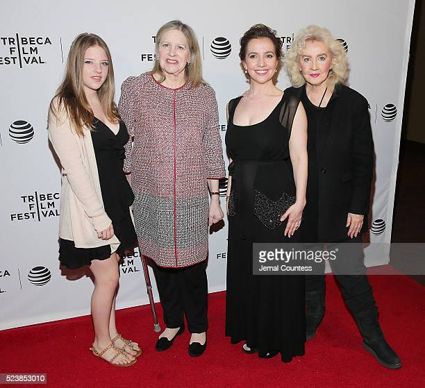 Francesca Scorsese Helen Scorsese Domenica Cameron Scorsese and Julia Cameron attend the Almost Paris Premiere at Chelsea Bow Tie Cinemas on April 24...