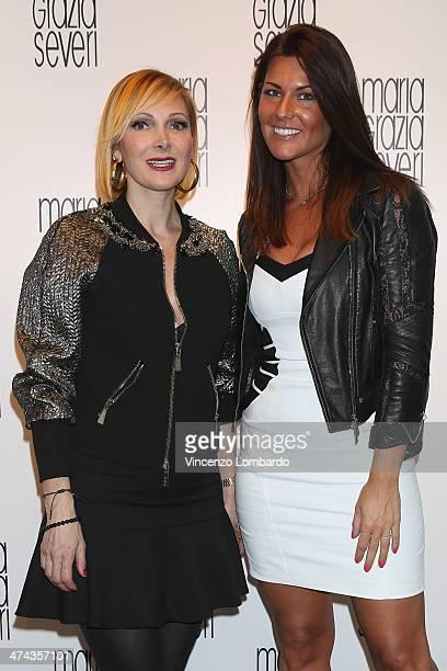 Francesca Severi and Barbara Pedrotti attend the Maria Grazia Severi presentation as part of Milan Fashion Week Womenswear Autumn/Winter 2014 on...