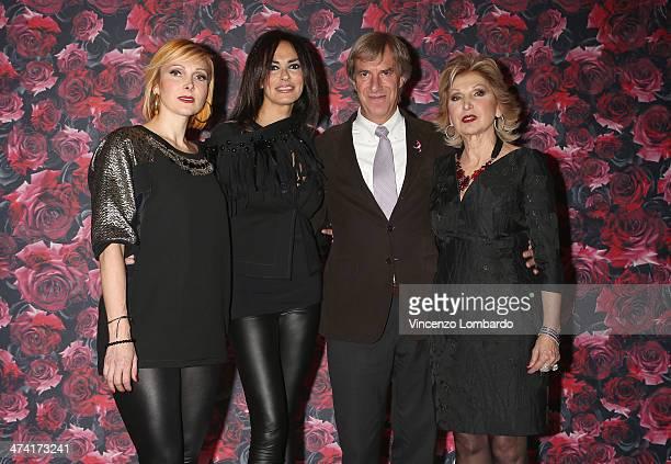 Francesca Severi, Maria Grazia Cucinotta, Riccardo Masetti and Maria Grazia Severi attend the Maria Grazia Severi presentation as part of Milan...