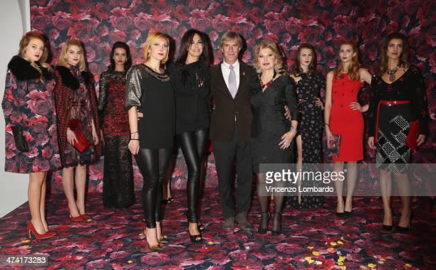 Francesca Severi, Maria Grazia Cucinotta, Riccardo Masetti, Maria Grazia Severi and models attend the Maria Grazia Severi presentation as part of...
