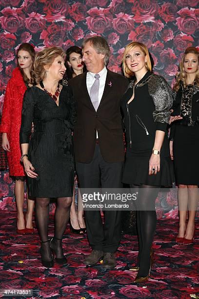 Francesca Severi, Riccardo Masetti and Maria Grazia Severi attend the Maria Grazia Severi presentation as part of Milan Fashion Week Womenswear...