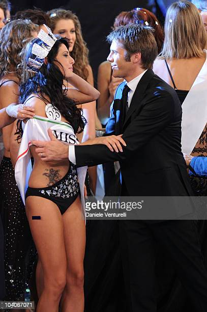 Francesca Testasecca and Emanuele Filiberto di Savoia attend the 2010 Miss Italia beauty pageant at the Palazzetto of Salsomaggiore on September 13...