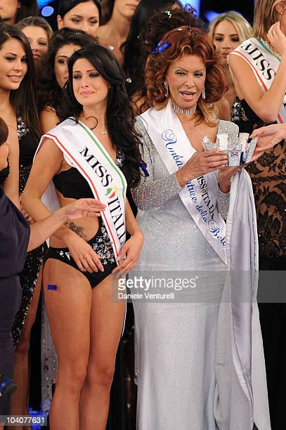 Francesca Testasecca and Sophia Loren attend the 2010 Miss Italia beauty pageant at the Palazzetto of Salsomaggiore on September 13 2010 in...