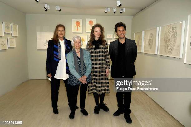 Francesca ThyssenBornemisza Joan Jonas and Stefanie Hessler during the conference presenting the exhibition Moving Off the Land II at the...