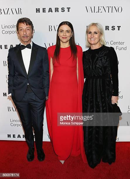 Francesca Valiani and Valentino Creative Directors Pierpaolo Piccioli and Maria Grazia Chiuri attend An Evening Honoring Valentino Lincoln Center...