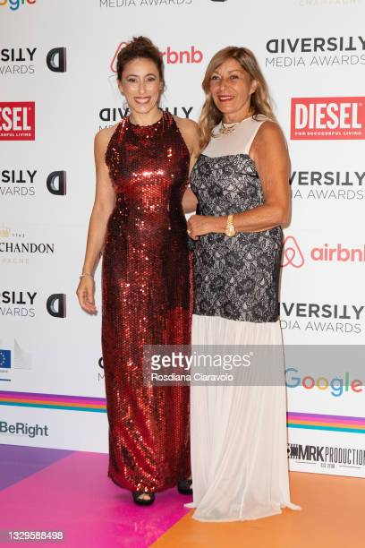 Francesca Vecchioni and Irene Bozzi attend the Diversity Media Awards 2021 red carpet at Teatro Franco Parenti on July 19, 2021 in Milan, Italy.