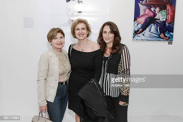 Francesca Verga Lorenza Silvestri and guest attend the Clen Gallery Art Exhibition at Rogue Space on October 17 2013 in New York City