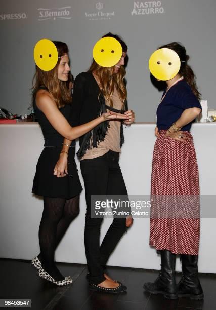 Francesca Versace, Bianca Brandolini D'Adda and Delfina Delettrez Fendi attend Fendi And Design Miami Present Design Vertigo: Preview held at Spazio...