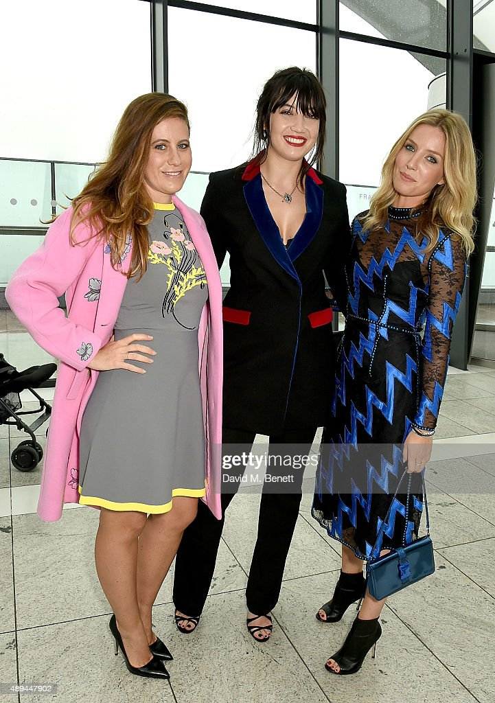 Francesca Versace, Daisy Lowe and Annabelle Wallis attend the Christopher Kane show during London Fashion Week SS16 at Sky Garden on September 21, 2015 in London, England.