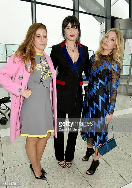 Francesca Versace, Daisy Lowe and Annabelle Wallis attend the Christopher Kane show during London Fashion Week SS16 at Sky Garden on September 21,...