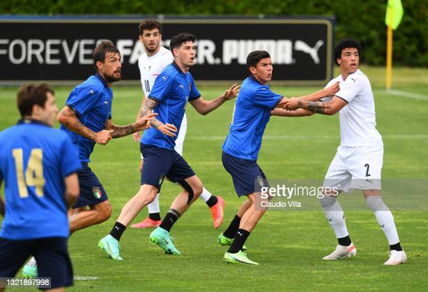 Francesco Acerbi, Alessandro Bastoni and Matteo Pessina of Italy in action during the friendly match between Italy and Italy U20 at Coverciano on...
