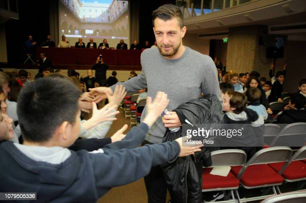 Francesco Acerbi and SS Lazio players meet school students during a visit to San Giuseppe school on January 9 2019 in Rome Italy