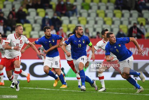 Francesco Acerbi, Leonardo Bonucci and Andrea Belotti of Italy in action during the UEFA Nations League group stage match between Poland and Italy at...