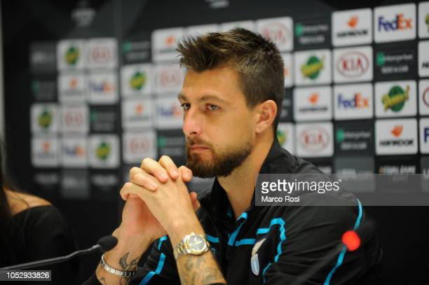 Francesco Acerbi looks on during the SS Lazio press conference at Stade Velodrome on October 24 2018 in Marseille France