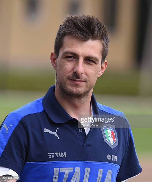 Francesco Acerbi looks on prior to the Italy training session at the club's training ground at Coverciano on May 18 2016 in Florence Italy