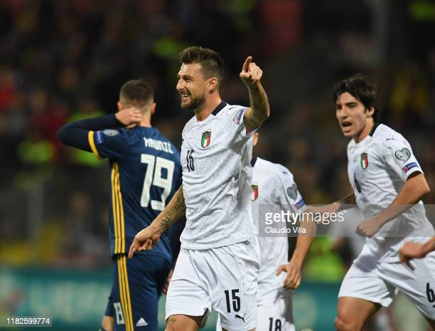 Francesco Acerbi of Italy celebrates after scoring the opening goal during the UEFA Euro 2020 Qualifier between Bosnia and Herzegovina and Italy on...