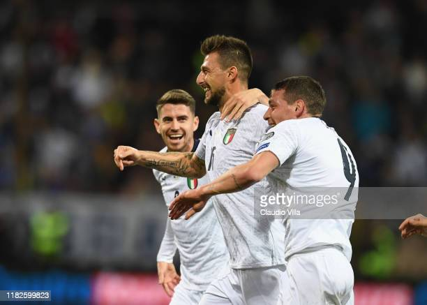 Francesco Acerbi of Italy celebrates with Andrea Belotti of Italy after scoring the opening goal during the UEFA Euro 2020 Qualifier between Bosnia...