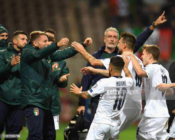 Francesco Acerbi of Italy celebrates with teammates after scoring the opening goal during the UEFA Euro 2020 Qualifier between Bosnia and Herzegovina...