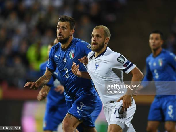 Francesco Acerbi of Italy competes for the ball with Pukki of Finland during the UEFA Euro 2020 qualifier between Italy and Finland at Tampere...