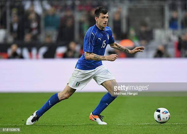 Francesco Acerbi of Italy controls the ball during the International Friendly match between Germany and Italy at Allianz Arena on March 29 2016 in...