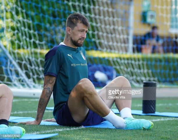 Francesco Acerbi of Italy in action during an Italy training session at Centro Tecnico Federale di Coverciano on June 13, 2021 in Florence, Italy.