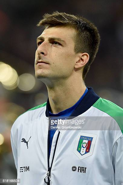 Francesco Acerbi of Italy looks on as the national anthems are played prior to kickoff during the International Friendly match between Germany and...